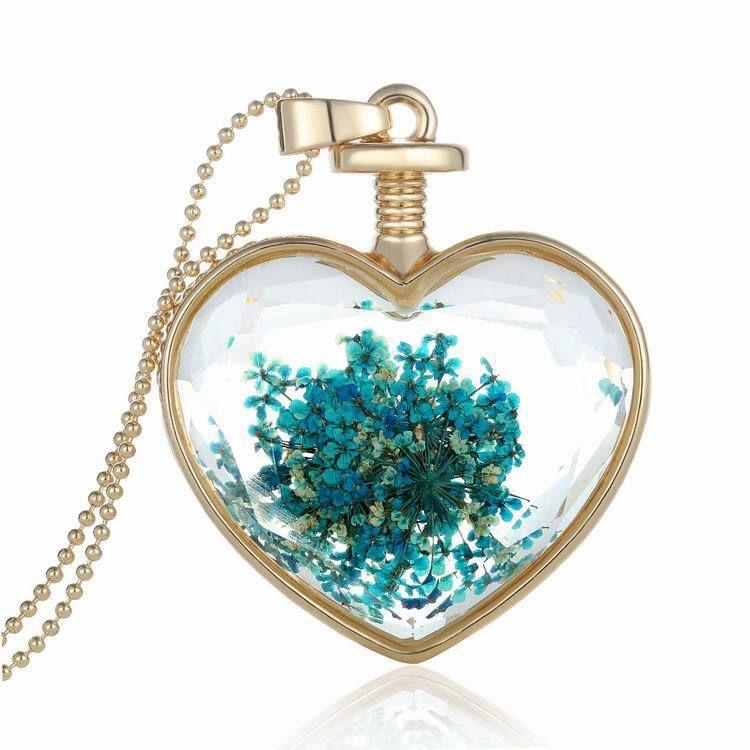 Locket necklace gold color multicolor dried flower botanical pendant heart shape glass wishing bottle pendant necklace 11 styles