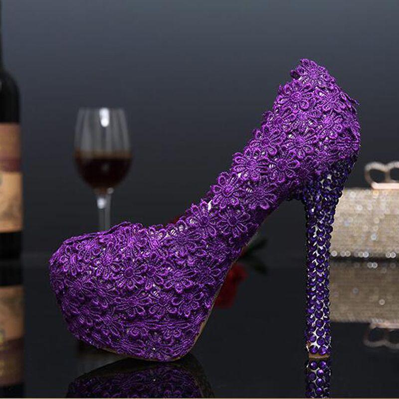 84c885c1bf Fashion 2016 Purple Lace Flower Wedding Shoes Evening Party High Heels  Women Genuine Leather Pumps Bridal Shoes Plus Size 43