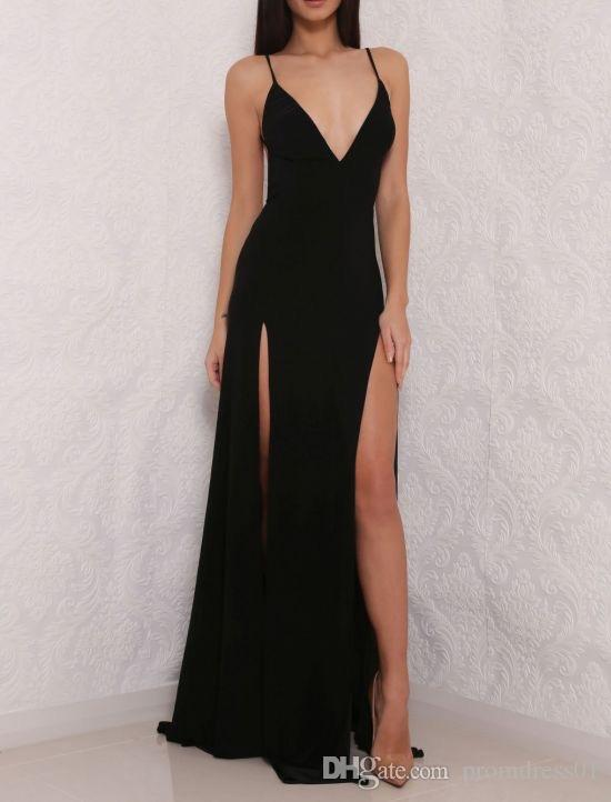 Sexy Deep V Neck Cut Low Spaghetti Straps Black/Red Chiffon Backless Long Prom Dresses Evening Dress for Women In Stock