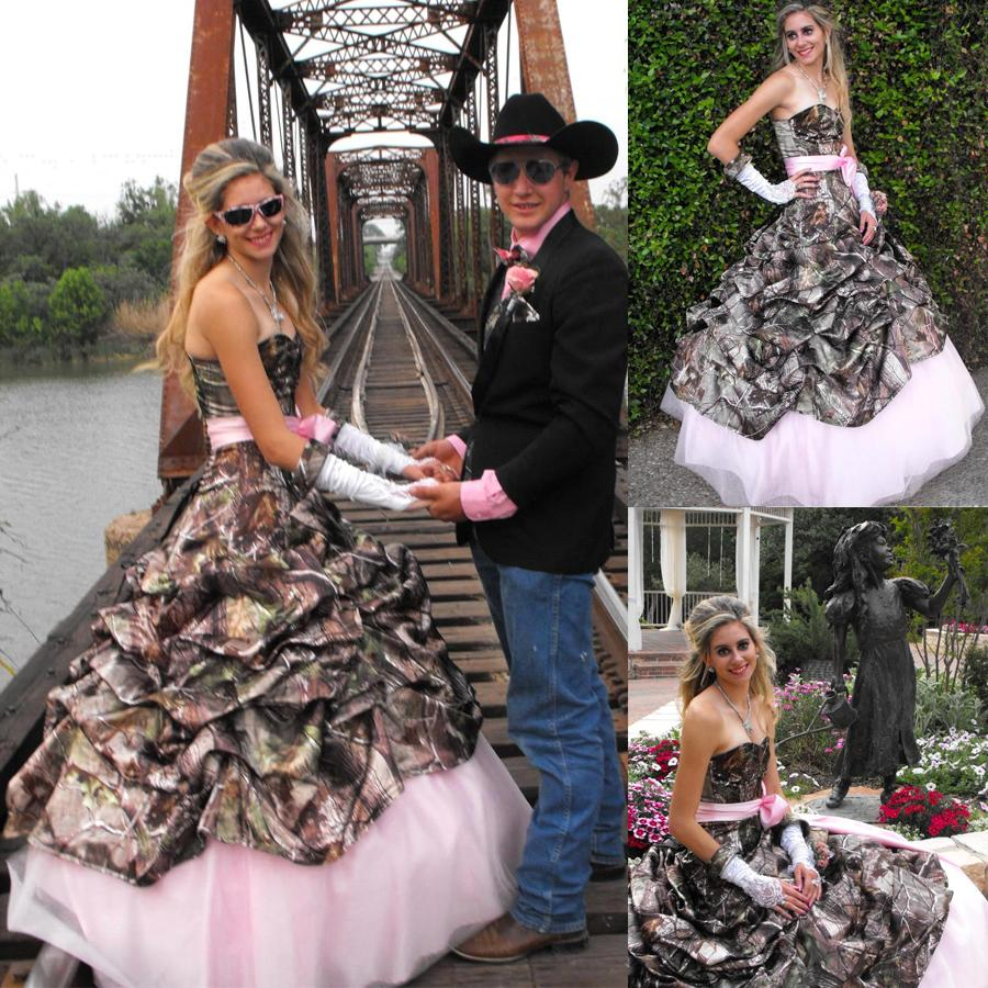 Camouflage Wedding Gowns: Discount Printing Pink Camo Camouflage Wedding Dresses