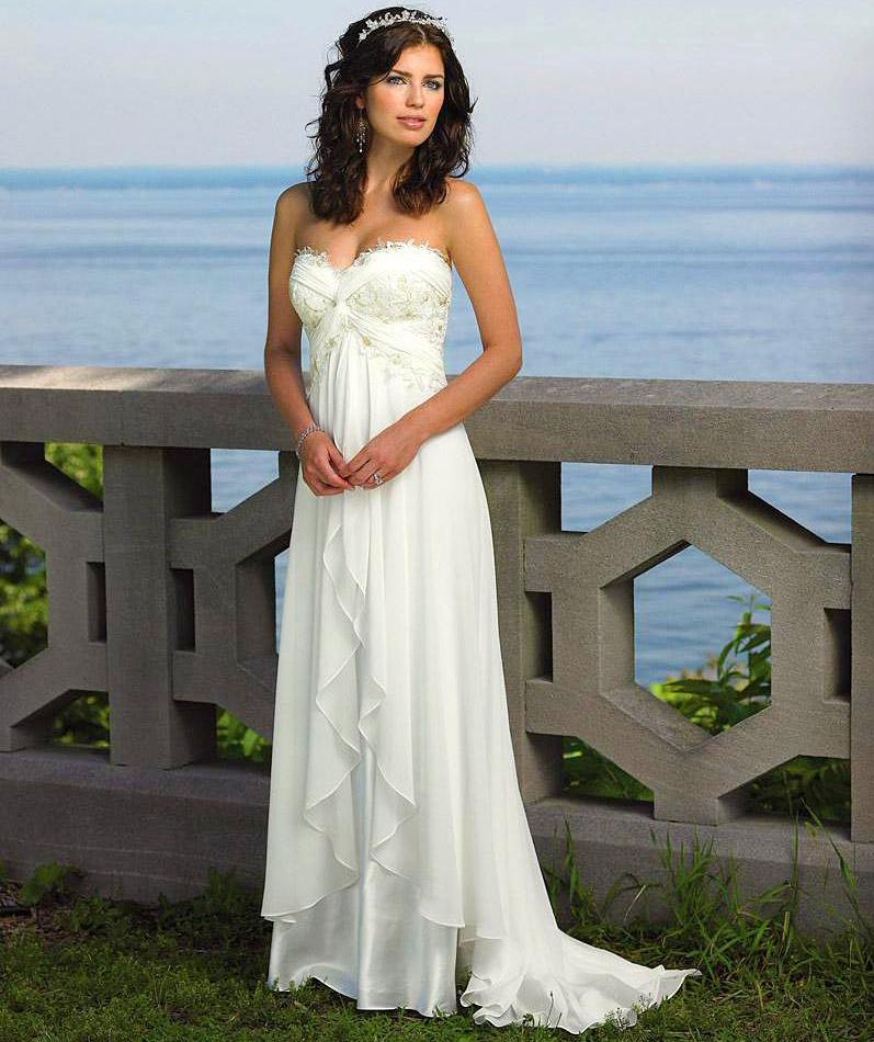 Hot ! A Line Strapless Pleated White Ivory Chiffon