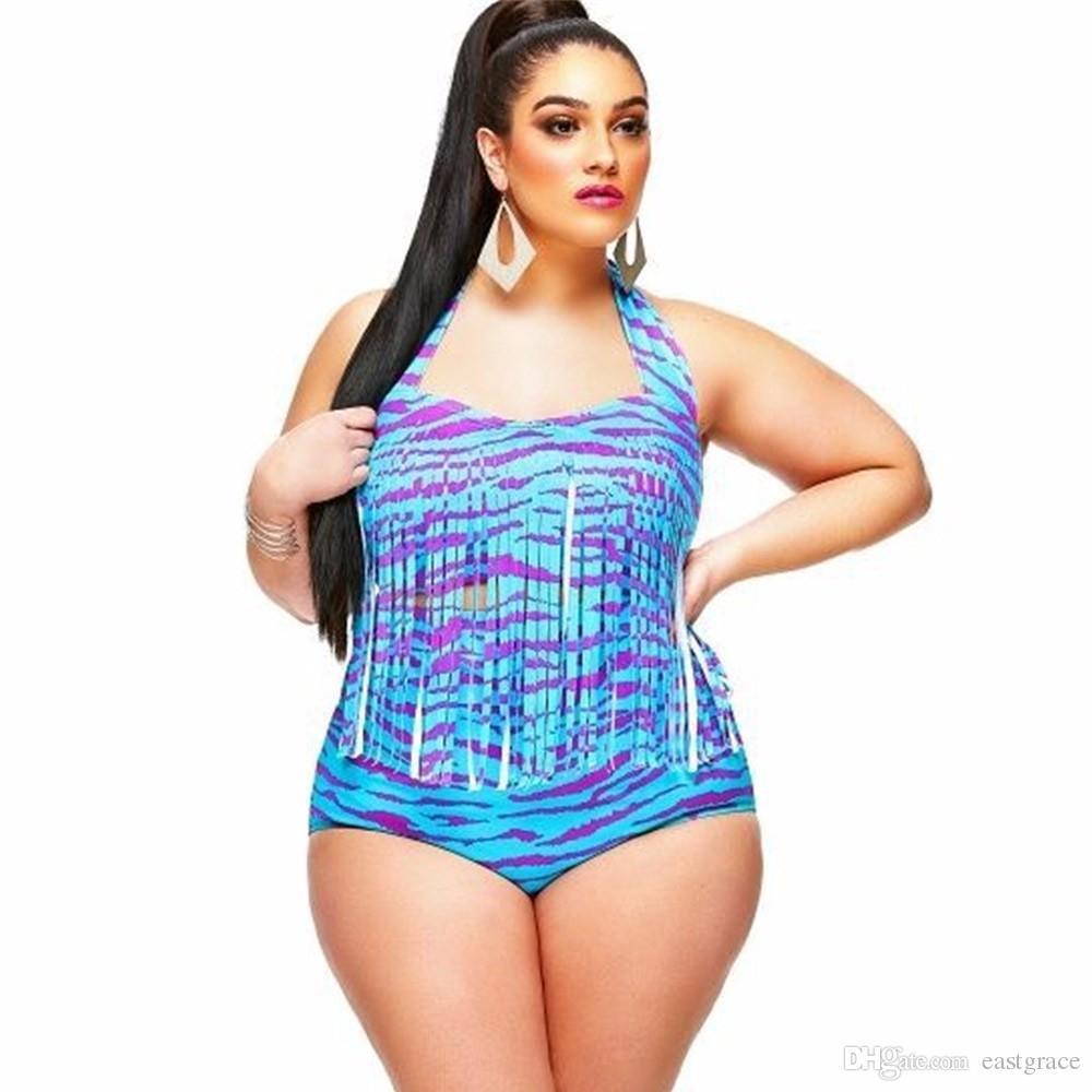 Plus size swimwear The new fat women bathing suit European style plus-size fertilizer high-waisted bikini sexy color tassel swimsuit 2016