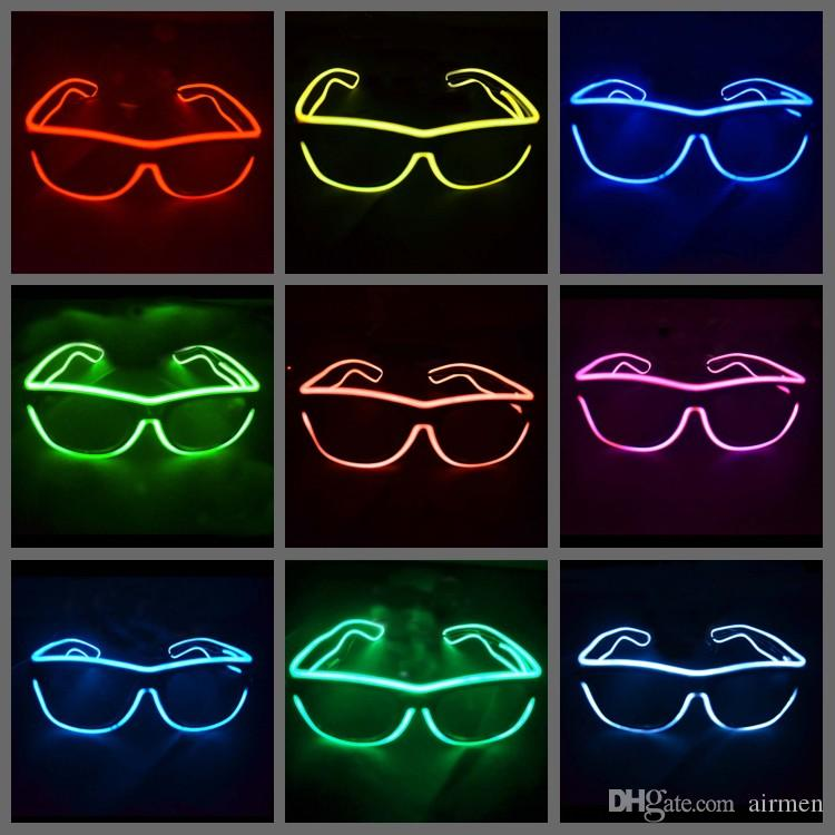 0e7763946c Simple El Glasses El Wire Fashion Neon LED Light Glow Sun Glasses Rave  Costume Party DJ Bright SunGlasses Fashion Glasses Neon LED Glasses EL  Glasses Online ...