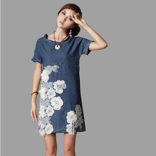 2015 New Fashionable Denim Dress Lace Flowers Short Sleeve Plus Size