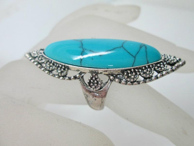 Vintage Gemstone Rings Fashion Special Ring Jewelry with Colorful Turquoise Tibetan Rings Turquoise Rings assorted designs