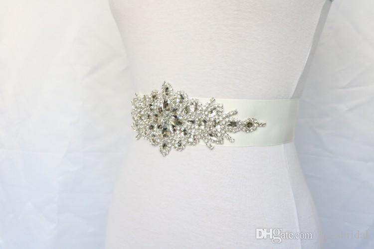Real Picture Vintage Crystal Rhinestone Jewelry Wedding Belts Ribbon Bridal Sashes Beaded Shiny Bridal Accessories