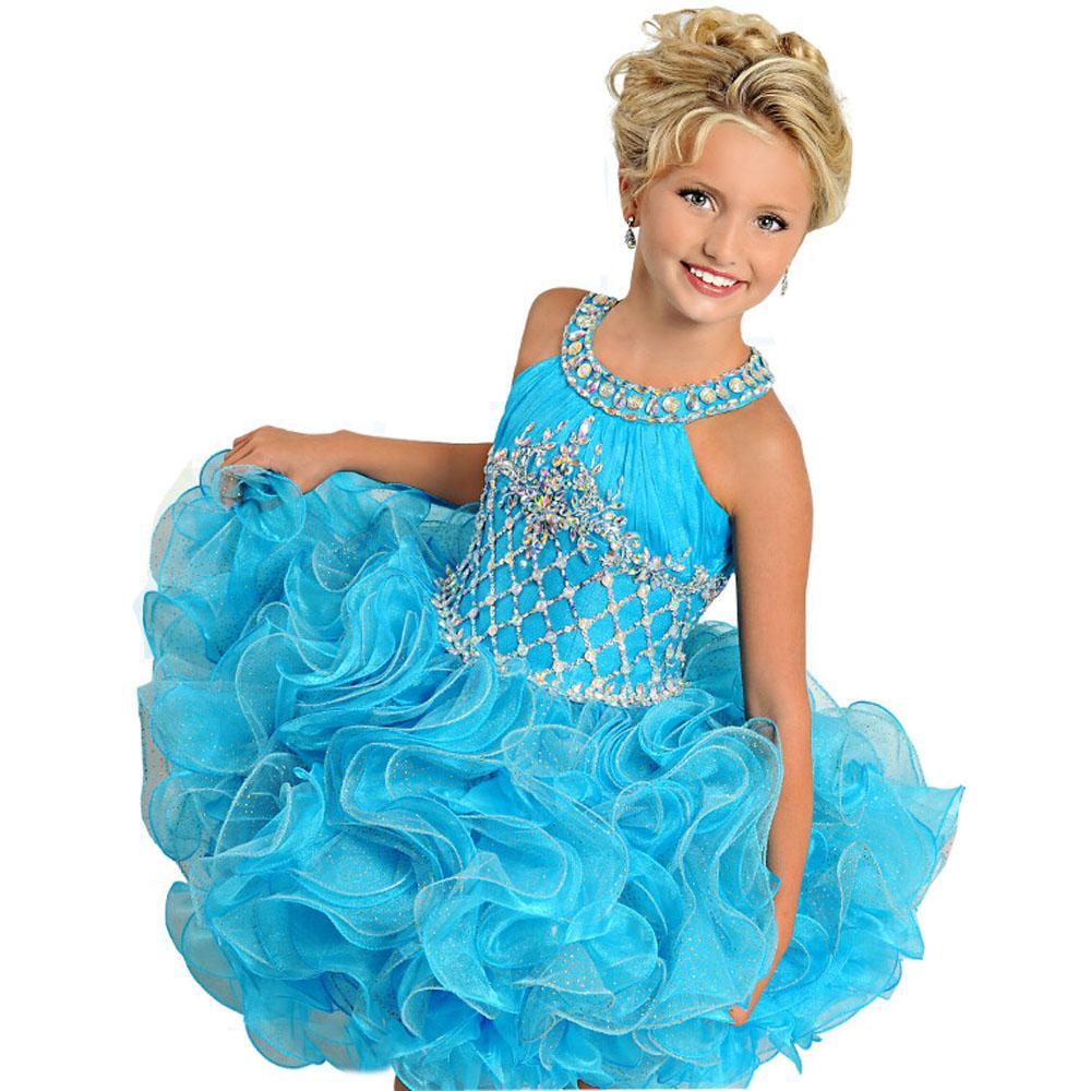 아름 다운 ritzee 여자 미인 드레스 크리스탈 보석 민소매 백리스 공 가운 미니 짧은 꽃 소녀 드레스 결혼식을위한