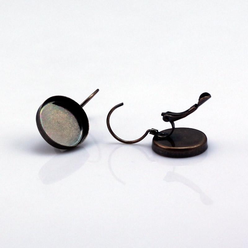 Beadsniceフレンチレバーバックイヤリング空白真鍮ベゼルイヤリングコンポーネント15mmラウンドカボションID12136