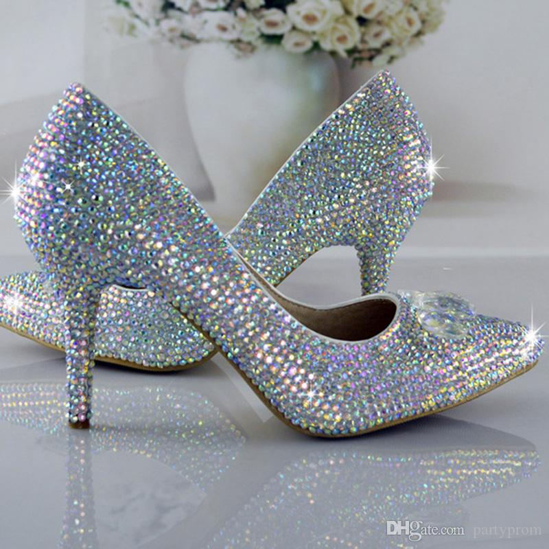 Fashion Cinderella Shoes Bling Glitter AB Crystal Prom Wedding Party Shoes Pointed Toe Women Rhinestone Pumps High Heels