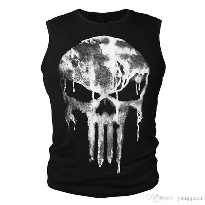 2017 Cotton T-shirt Short Sleeve Shirt Summer The Punisher Skull T Shirt Slim Black O-Neck Short Sleeve Tees Fitness Tops Tees