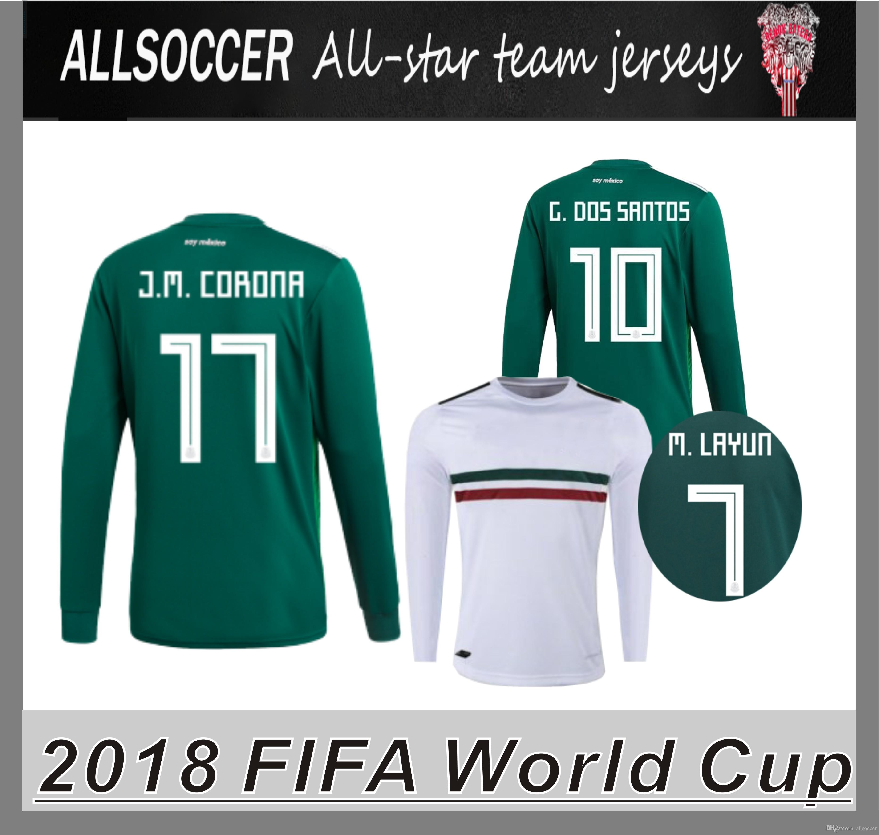 99409e6c177 2018 World Cup Mexico JERSEYS Long Sleeve Chicharito Miguel Layun ...