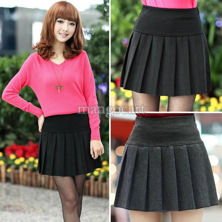 2017 2016 New Women Vintage Winter Wool Mini Skirt School Uniform ...