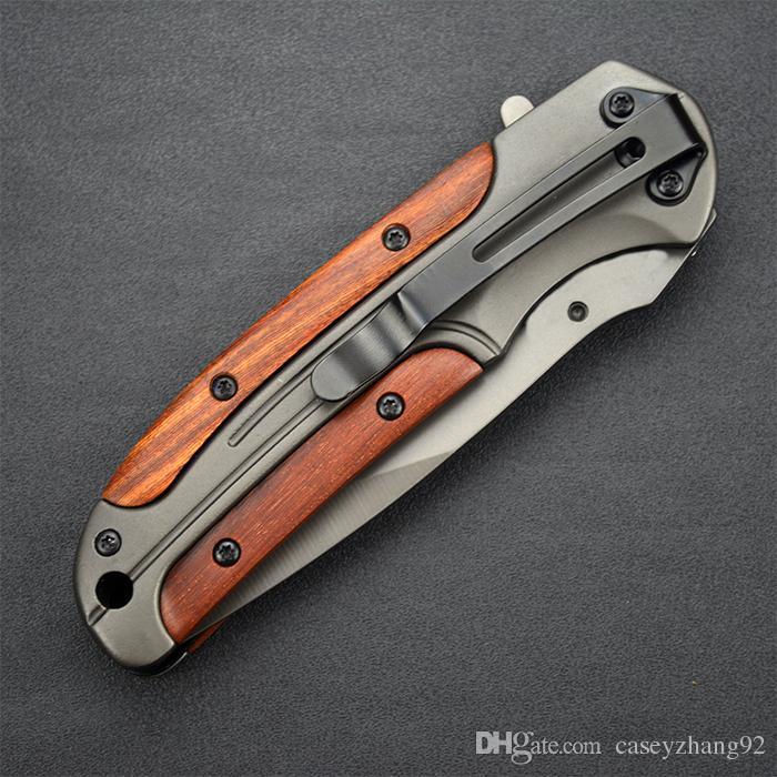 Браунинг DA43 Складной нож 3Cr13 Лезвие из розового дерева с рукояткой Титановый тактический нож Карманный инструмент для кемпинга быстро открывающийся охотничий нож Нож выживания
