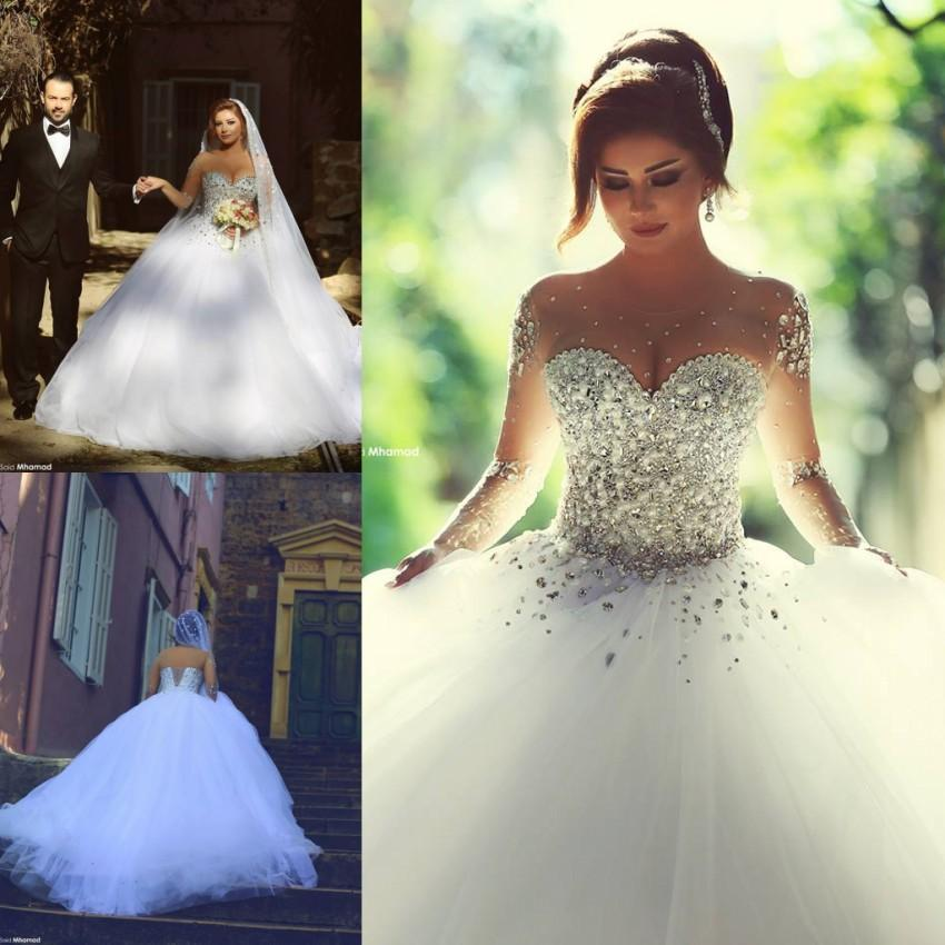 Discount Said Mhamad 2016 Spring Bling White Sheer Long Sleeves Crystals Wedding Dresses Ball Gowns Pearls See Through Plus Size