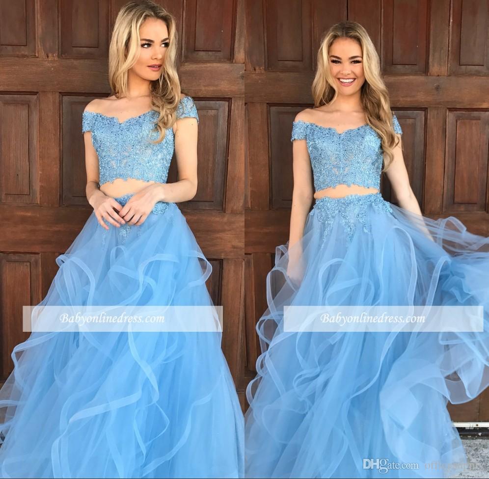 2018 Chic Two Pieces Sky Blue Prom Dresses Off Shoulder V Neck ...