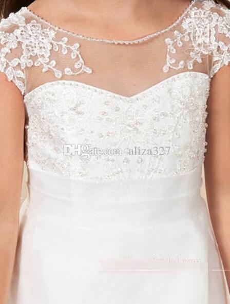 ハイグレードの花の女の子のドレスビーズing王女の白いフォーマルなドレス聖体服女の子のドレスの花の女の子のドレス