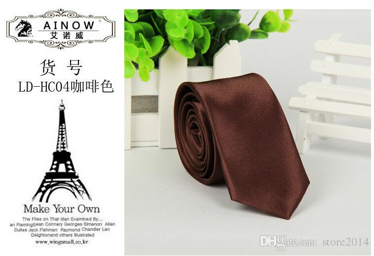 Best-seller i New Fashion Mens Skinny Sof Solid Color Plain Satin Tie Cravatta Cravatta Matrimonio Collo cravatta