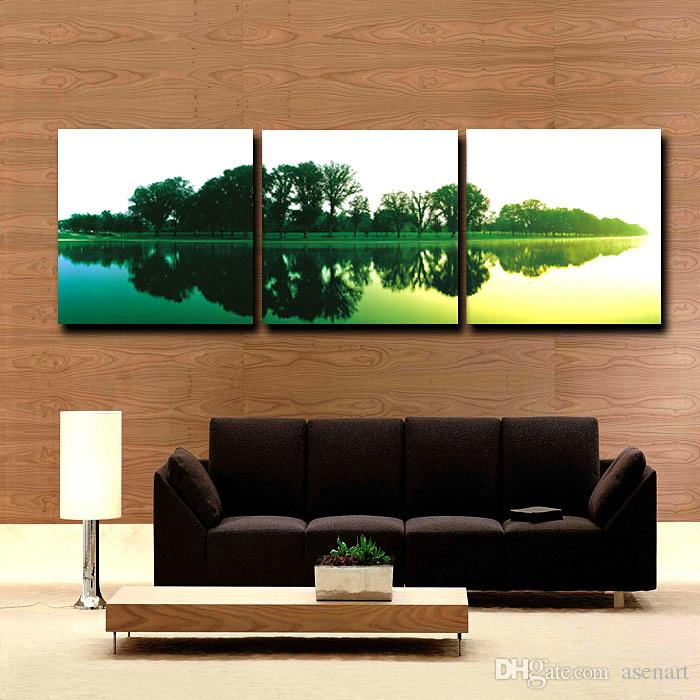 Bamboo Lotus Pond Lake City Sunset Fallen Leaves Autumn Trees 3 Panels Landscape Modern Oil Painting Printed On Canvas For Home Decoration