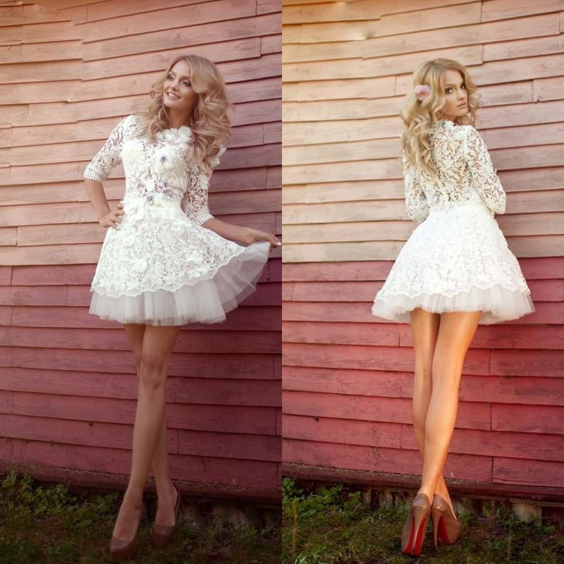 Elegant Lace Sleeve Short Wedding Dresses 2016 Scoop Neck: Discount 2016 Lace Short Bridal Dresses Vintage Scoop Mini