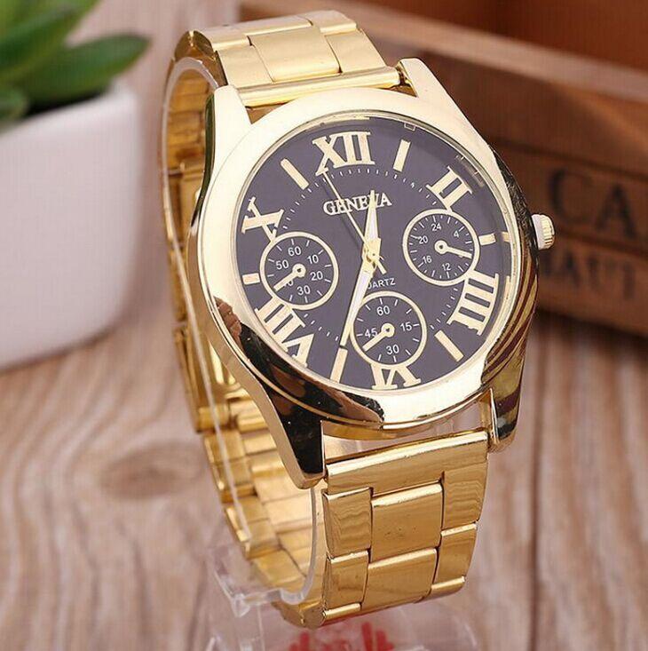 26d5ef0ef55 Compre Hot Luxury Roman Numerals Genebra Assistir Moda Feminina Senhoras  Relógios Ouro Aço Inoxidável Relógio De Pulso De Quartzo Analógico De  Bigbangcx