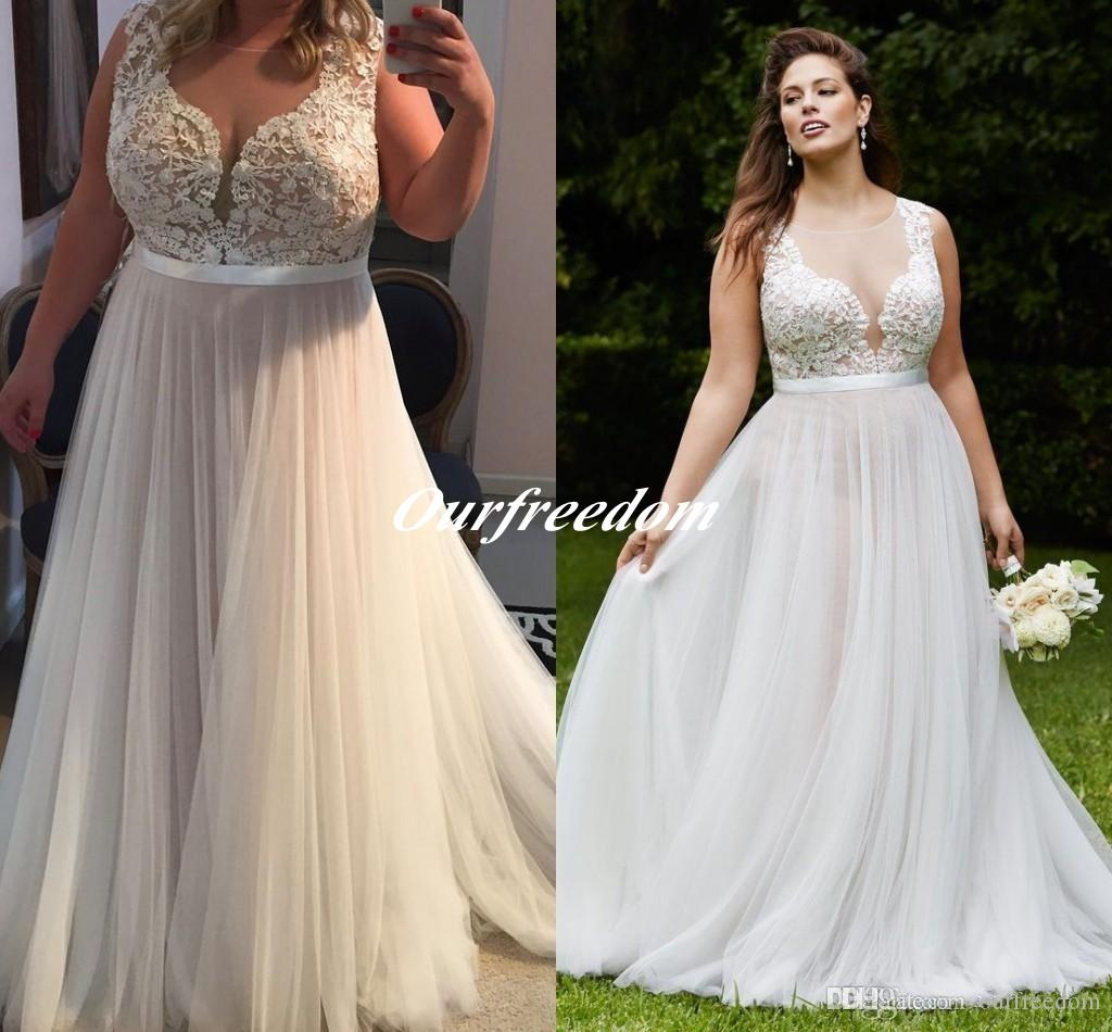 2016 vintage plus size illusion top wedding dresses sheer for Plus size wedding dresses online usa
