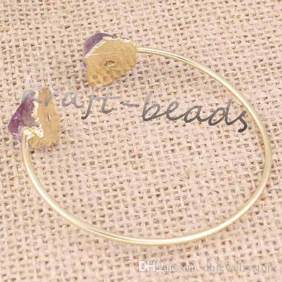 Подвески позолоченные натуральный Аметист желтый кварц случайная форма бусины чакра исцеление браслеты ювелирные изделия для подарка