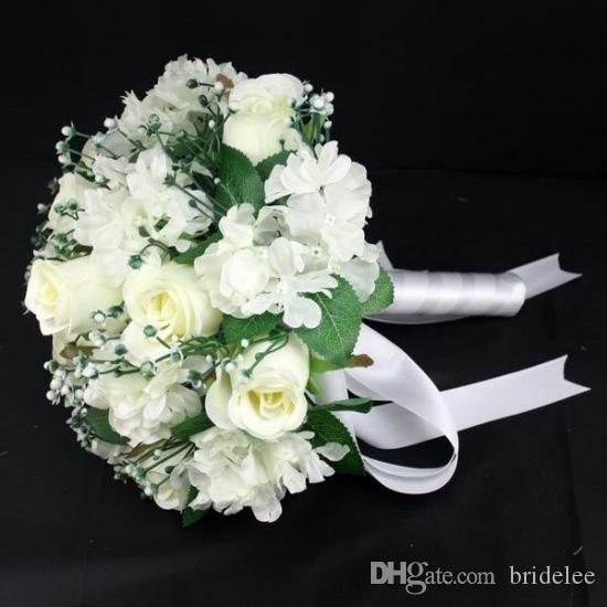 White Pink Blue Ivory Romantic Artificial Silk Rose Table Decoration Flower With Leaf Berry Pearl Bridal Wedding Bouquet