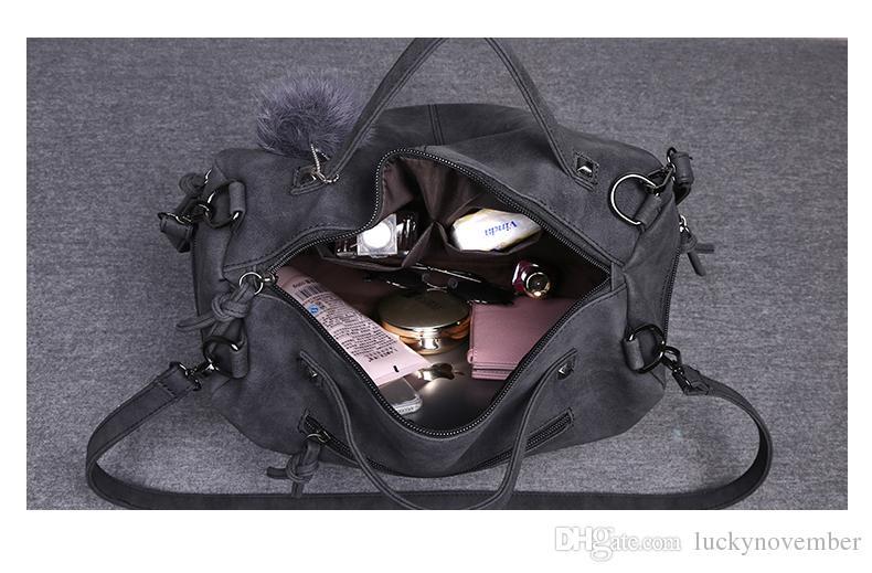 Bolso grande 2019 nueva moda europea y americana bolso retro remaches bolsos de piel salvaje bolso bandolera bolsa de mensajero