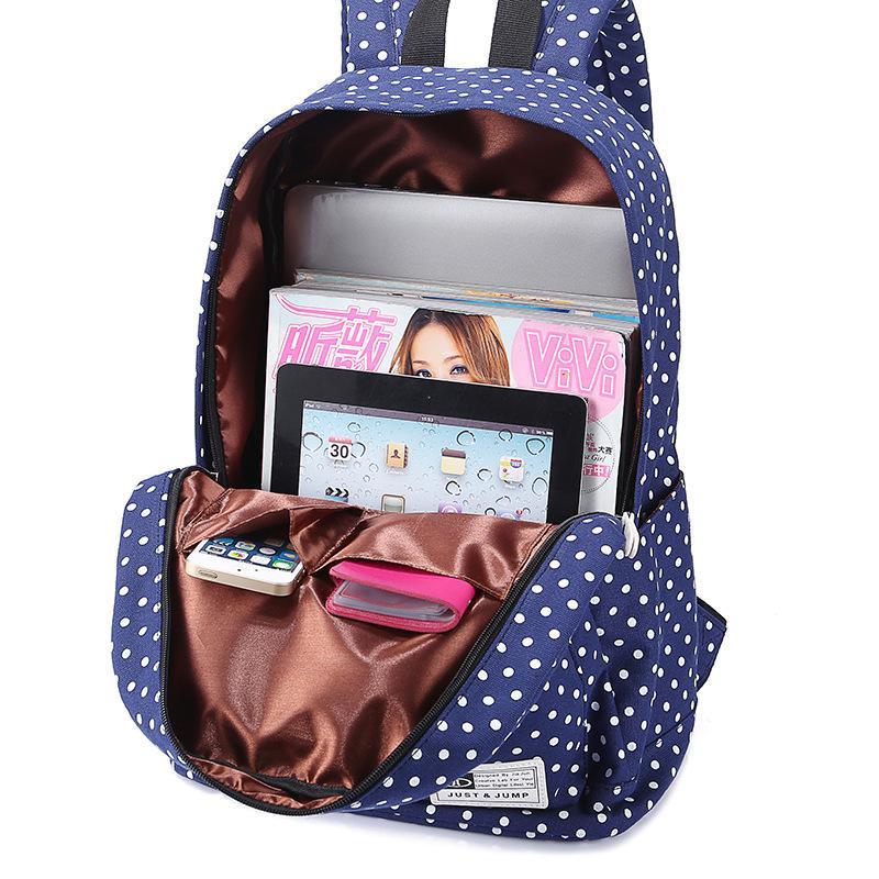 DDUP 2017 New Women Canvas Bag Big Capacity Fashion Ladies Backpacks Polka Dot Printing School Bags For Teenagers Girls