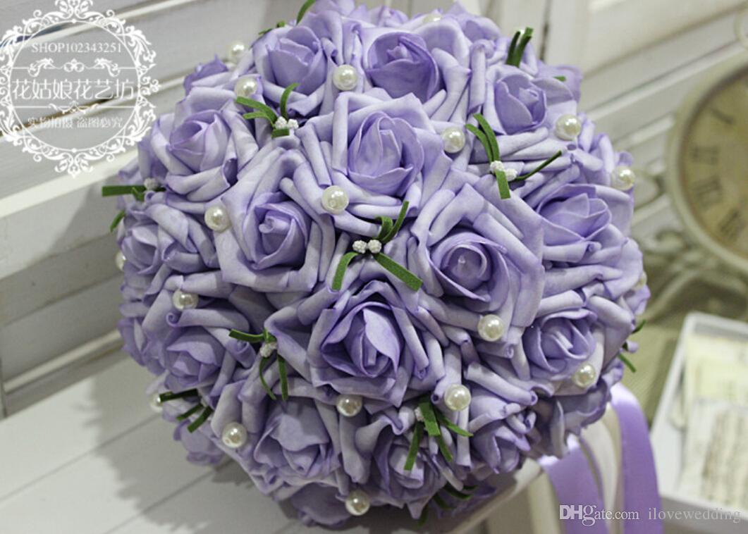 Hot Sale! Wholesale Purple Artificial Wedding Bouquet Roses Pink Women Bridal Accessories Flowers Gown 2016 Wedding Accessory