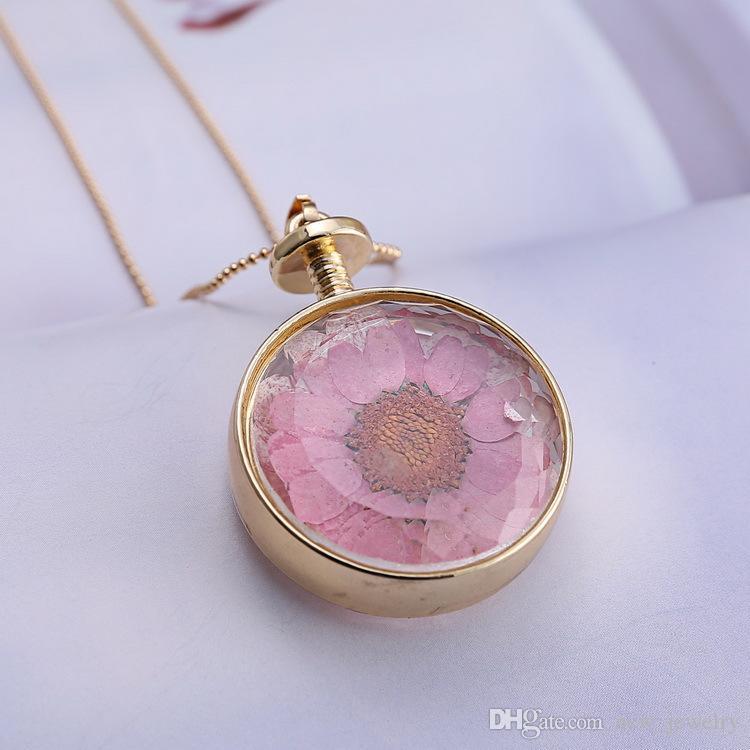 Yeni moda bohem tarzı lüks şeffaf temiz yuvarlak kristal numune kurutulmuş çiçek kolye kolye kazak zincir kolye
