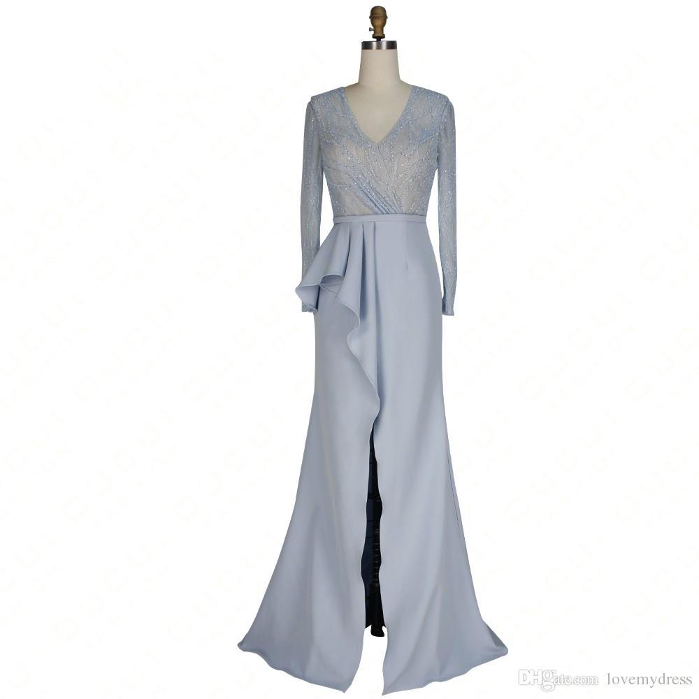 2021 Grå ihålig ryggmor av brudgummen plus storlek klänningar med illusion långa ärmar ihåliga tillbaka pärlstav långa splittrar formell kväll