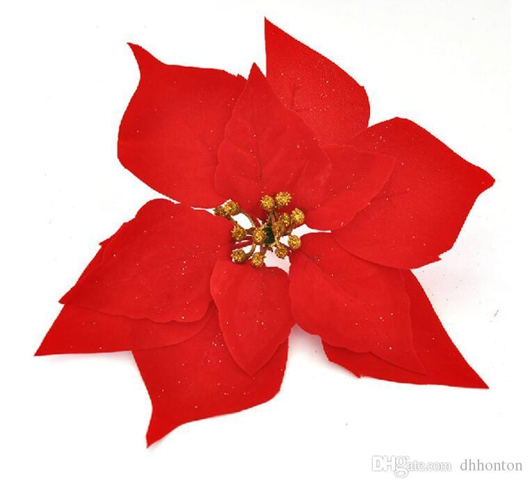 Poinsettia dei fiori artificiali, fiori di seta dei fiori delle teste di fiore del poinsettia di Natale all'ingrosso i fiori di decori di festival trasporto libero SF010