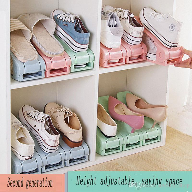 2018 Plastic Shoes Storage Rack Double Adjustable Cleaning Save Space Shoe  Holder Shoes Organizer Living Room Convenient Stand Shelf From Qwonly_shop,  ...