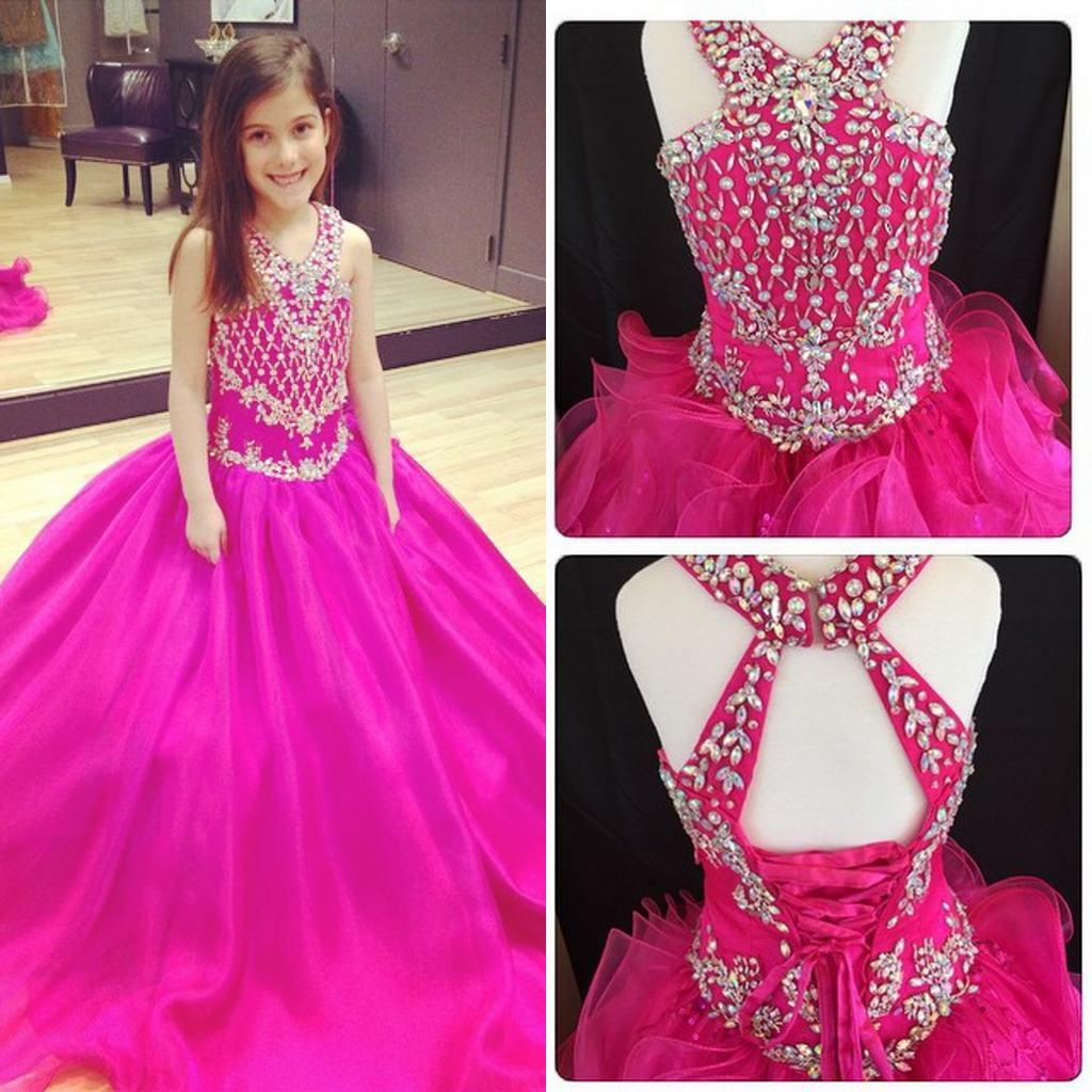 V Neck Fuchsia Sweep Train Girl\'S Pageant Dresses Ball Gown Shining ...