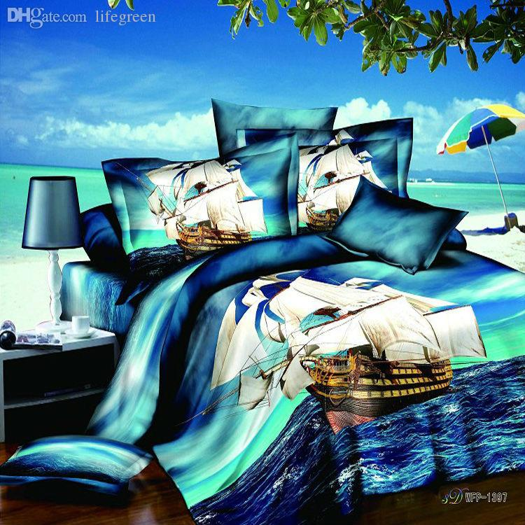 Wholesale-ocean sailing reactive printed 4pc bedding set blue 3d bedclothes queen king size Duvet/Quilt/Comforter cover bed linen sets