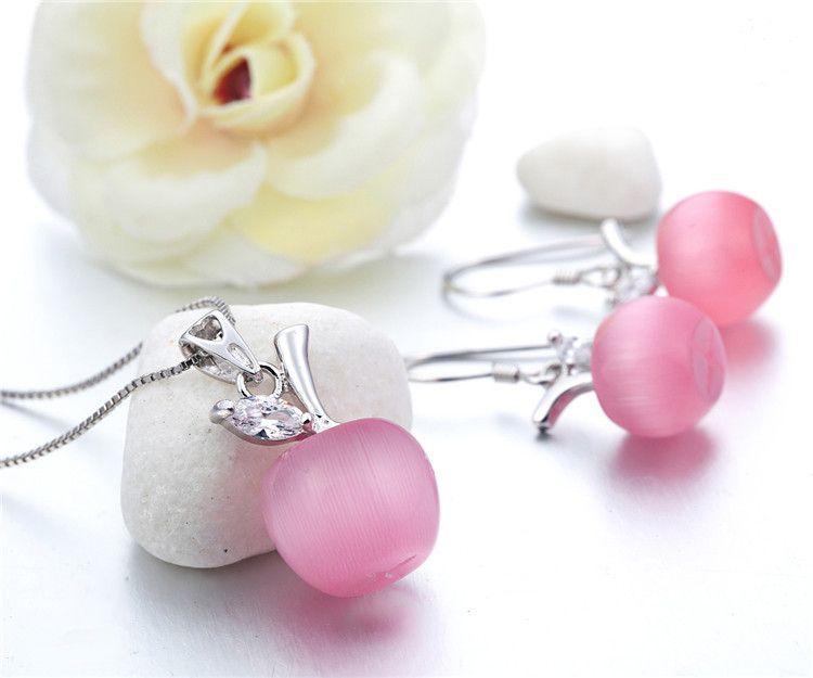 Boucles d'oreilles goutte d'opale de pomme 100% garanti solide en argent Sterling 925 avec la pierre d'opale YH4285