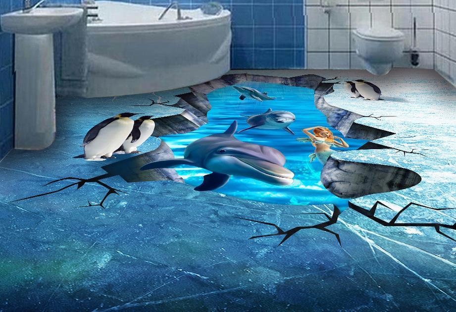 waterproof PVC Wallpaper Ocean World floor painting murals PVC Self-adhesive Floor
