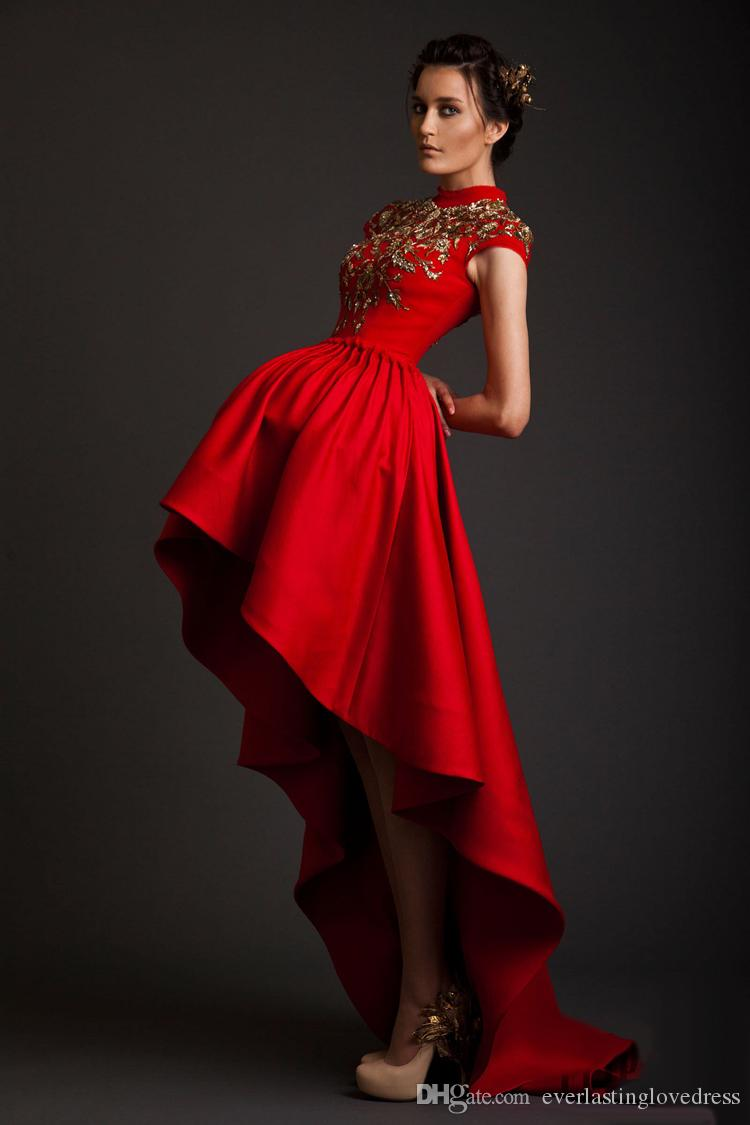 red after short front long back prom dresses cap sleeve