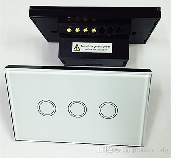 3Gang 1 Touch Light Wireless Wall Switch White Black Glass Panel with Remote Control EU Standard US 110V-240V
