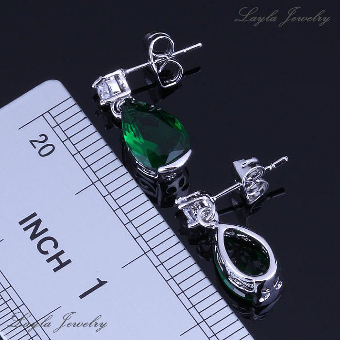 Everlasting Water Drop Green Emerald Stud Earrings / Pendant Necklace 18K White Gold Plated Jewelry Sets Free Gift Bag H0065