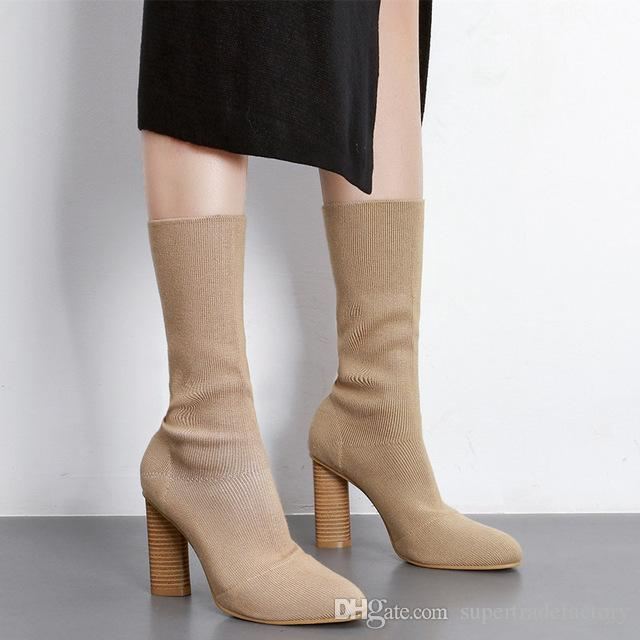 c795aa79ad82 Knit Style Pointed Toe Block Heels Short Boots High Heels Women Ankle Boots  High Heel Knitting Boots Sock Bootie Shoes For Sale Cheap Cowgirl Boots  From ...