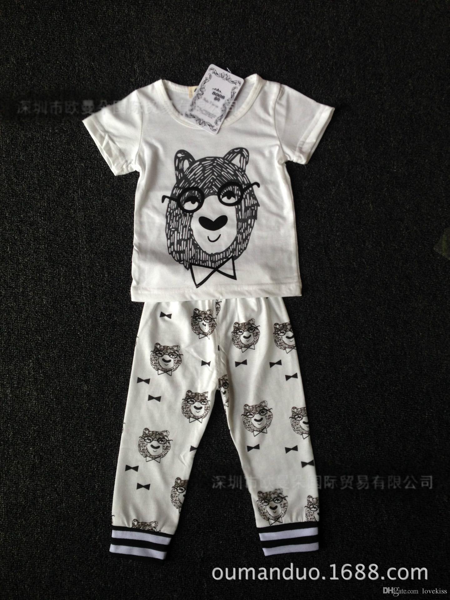 2018 ropa de estilo infantil de verano conjuntos de ropa de bebé niño Algodón pequeños monstruos de manga corta 2 piezas traje bebé niño ropa de niños LH16