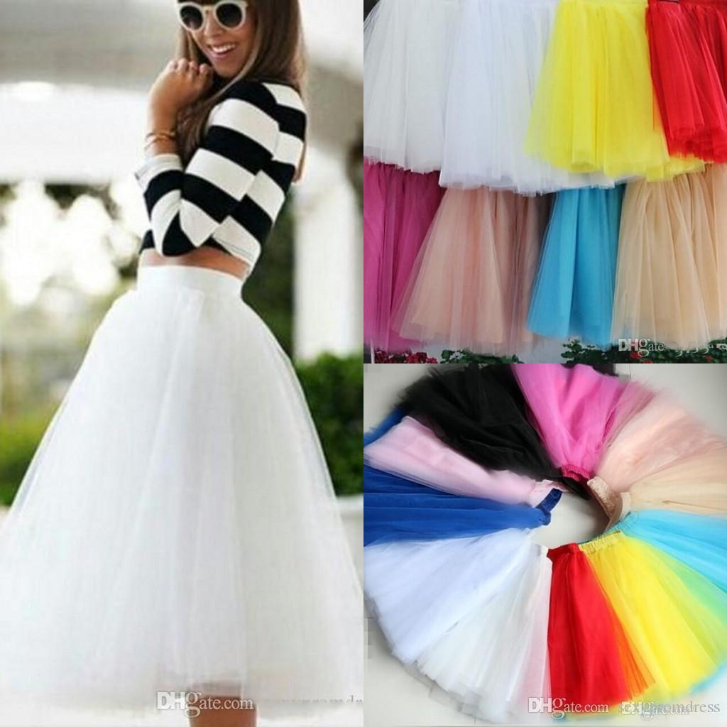 2018 2015 White Tulle Tutu Skirts For Adults Real Photos Knee Length ...