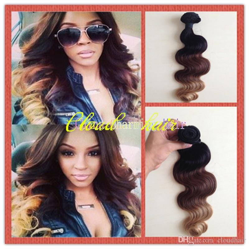 Ombre hair extensions brazilian body wave virgin hair weave ombre hair extensions brazilian body wave virgin hair weave bundles three tone 1b427 7a brown blonde ombre remy human hair weft pmusecretfo Gallery