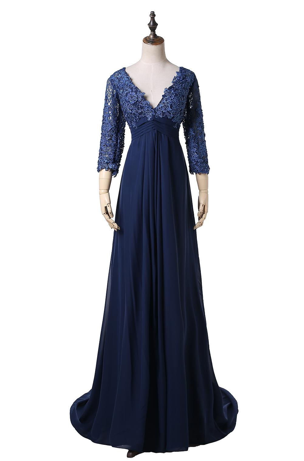 Hot Selling Empire Navy Evening Dresses 3/4 Sleeve V-Neck Lace Chiffon Floor Length Party Gowns Zipper Back Custom Made E228