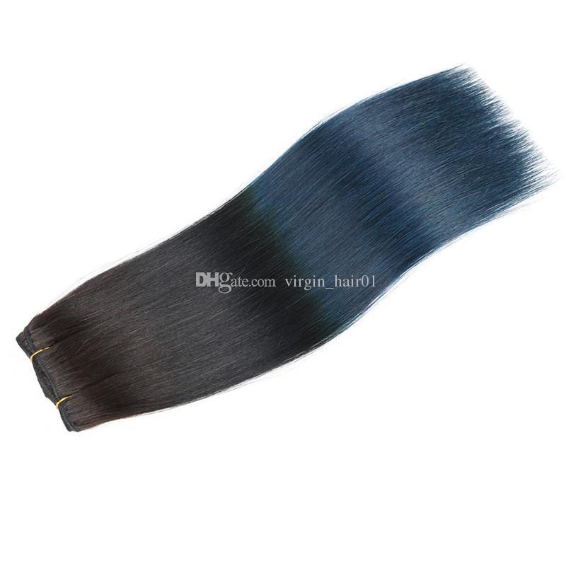 두 톤 1B 블루 옹 브르 브라질 실크 스트레이트 인간의 버진 헤어 3 번들 100 % 인간의 머리카락 검정과 파랑 3 묶음 머리 Wefts