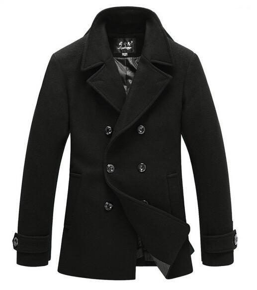 Best Wool Coat Men 2015 Mens Winter Jacket Black Pea Coat Male ...