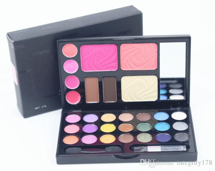 DANN 21Color shimmer Palette Eye Shadows paleta de sombra de ojos Maquillaje Set Cosméticos (Blush, base, eyebraw, Lip Gloss, sombra de ojos) 156 set / lote