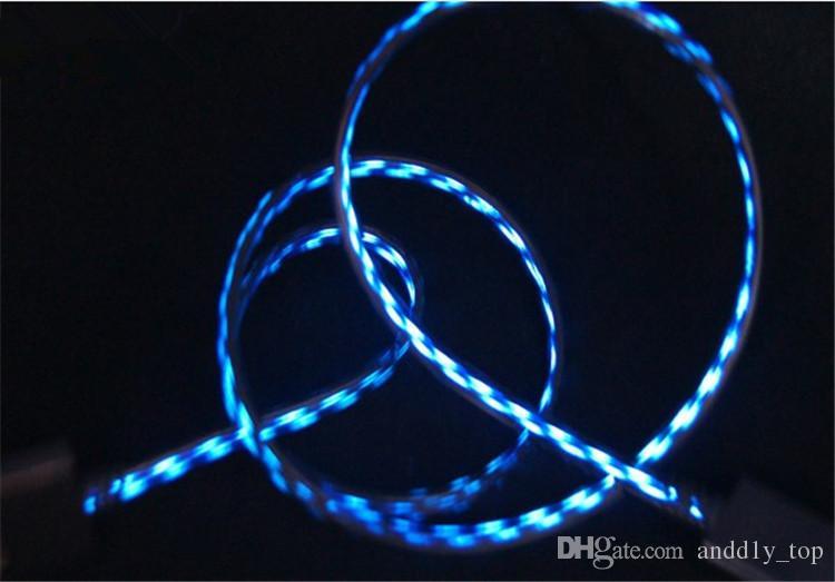 Iluminação brilhante cabo de carregamento fluxo de fluxo de luz micro usb carregador cabo de sincronização de dados para samsung com retail bag us02